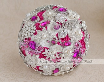Brooch bouquet. Fuchsia, White and Silver wedding brooch bouquet, Jeweled Bouquet.