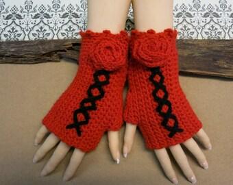 Crochet Fingerless Gloves, Red Corset Wool Gloves, Arm Warmers, Gothic Gloves, Red Black Burlesque Wrist Gloves, Womens Gift, Australia