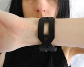 Goth/ punk 90's black leather armband with cut out detail