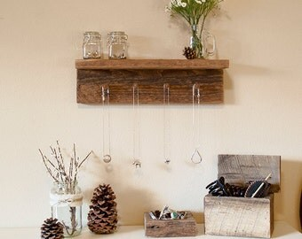 "Rustic jewelry rack, jewelry hanger, jewelry hooks, 17"" x 4"" barnwood jewelry hanger with 4 pegs"