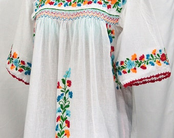 "Mexican Peasant Blouse Top Hand Embroidered: ""La Marina"" White + Bright Multi Embroidery"