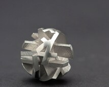 Pendant only, 3D print geometric silver necklace, 3D printing - Negative/Positive collection