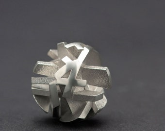 3D printed geometric silver necklace (pendant only), 3D printed jewelry - Negative/Positive collection