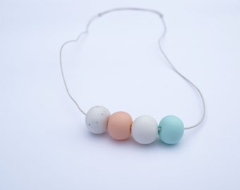 Marble Peach White Mint Polymer Clay Bead Necklace