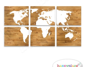 Large blue world map wall art map poster 16x20in map boys world map print panels as printable digital files six 11x14inch jpeg images included wood background gumiabroncs Gallery