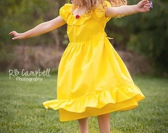 Belle Inspired Dress- Cotton Princess Dress - casual princess dress - Yellow princess Dress - Beauty and the Beast Dress - Princess belle