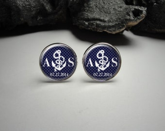 Personalized Navy Blue Anchor Cuff Links 20mm Doctor Silver Cufflinks for Him/Men Gift Personlized Anchors/Wedding Cuff Links
