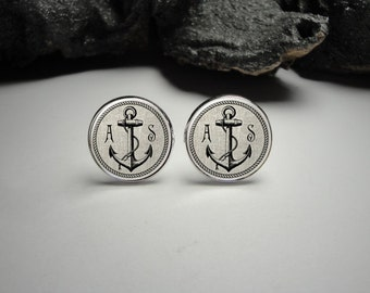 Personalized Linen Rope Anchor Cuff Links, Initials and Date Anchor Cuff Links, Wedding Cuff Links, Personalized Anchor Cufflinks, Men Gift