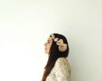 Weddings Bridal Accessories Romantic Boho Headpiece Blush Organza Flower Fairytale Flower Hair Accessories for Brides Bridesmaid Flower Girl