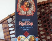 Vintage 1930s Seneca Indian Red Top Sportsmen's Socks Box Native American Rustic Home Decor Display Piece with Ice Skating Fishing Images
