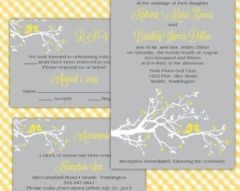 Custom Lovebird Wedding Invitations