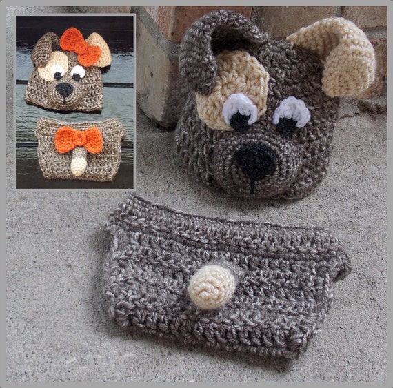 Crochet Dog Hat And Diaper Cover Pattern : Puppy Hat & Diaper Cover Crochet Pattern ... Instant Download