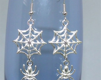 Halloween Spider and Web Dangle Earrings