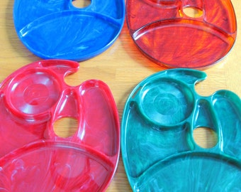 SALE Vintage 1960s Set of 4 Snack Master Party and Mingle Snack Trays