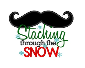 Staching Through the Snow APPLIQUE . INSTANT DOWNLOAD. Machine Embroidery Design Digitized File 4x4 5x7 6x10