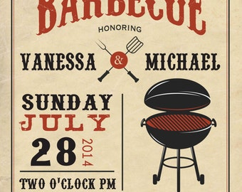 COUPLES bbq BABY SHOWER invitation barbecue