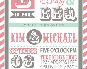 COUPLES bbq BABY SHOWER invitation pink grey mint