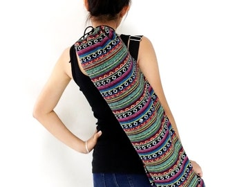 Handmade Yoga Mat Bag Yoga Bag Sports Bags Tote Yoga Sling bag Pilates Bag Pilates Mat Bag Woven Yoga Bag Women bag Woven Cotton bag (WF4)