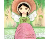 Practice Humility Mixed Media Girl Angel / 8 by10 inches Original Artwork