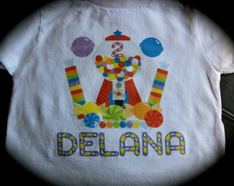 Personalized; CANDY themed birthday shirt; Candy birthday party