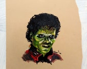 Michael Jackson Thriller! Prisma Colored Pencil Portrait: One of a Kind Reese Hilburn Art