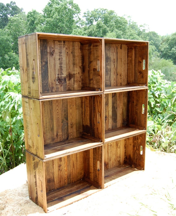 caisse en bois mur unit biblioth que rangement. Black Bedroom Furniture Sets. Home Design Ideas