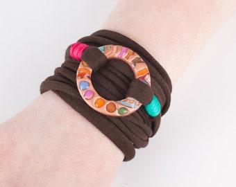 Wrist wrap bracelet,  fabric bracelet, 'wrap around your wrist' bracelet, handmade polymer clay bead, Dutch Design