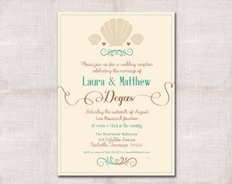 Seashells Wedding Reception, Celebration, After Party Invitation Custom Printable 5x7