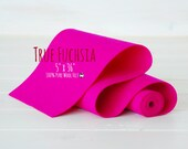 "100% Merino Wool Felt Roll - 5"" x 36"" Roll- Wool Felt Color True Fuchsia-4060 - Pink Color Wool Felt -  Pure Merino Wool Felt - Fuchsia Felt"