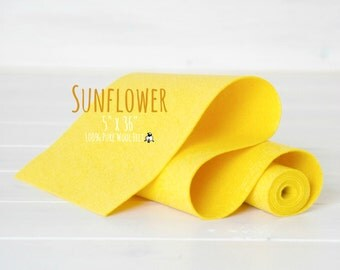 "100% Merino Wool Felt Roll- 5"" x 36"" Roll- Wool Felt Color Sunflower-6050 - Yellow Color Wool Felt - Pure Merino Wool Felt - Sunflower Felt"