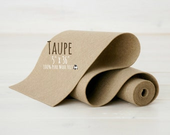 "100% Merino Wool Felt Roll - 5"" x 36"" Wool Felt Roll - Wool Felt Color Taupe-7080 - Merino Wool Felt - Taupe Color Wool Felt - Beige Color"