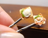 Egg and bacon sandwich hair bobby pin hair clip- one inch scale 1:12 dollhouse miniature food jewellery by Nassae Ithilwen