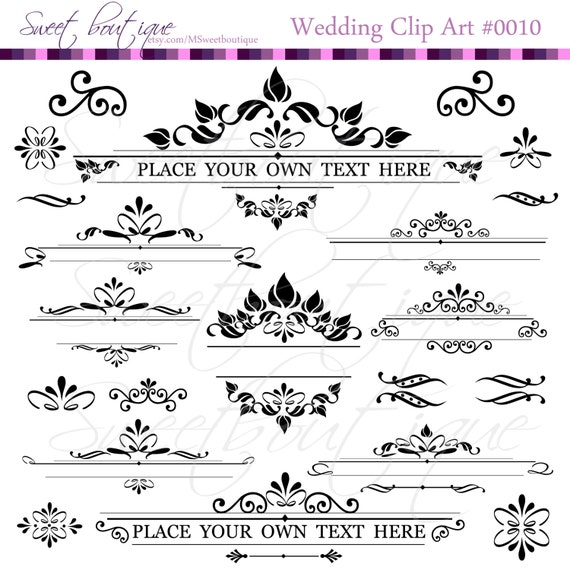 Text dividers digital clipart decoration ornate set for A text decoration