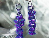 Shaggy Loops Earrings With Radioactive 2-Toned Neon Blue and Violet Glass Beads