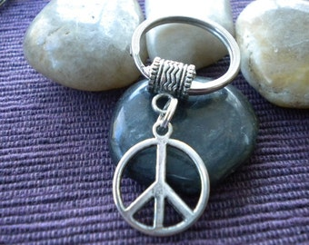 Silver Peace Sign Key chain /Key ring