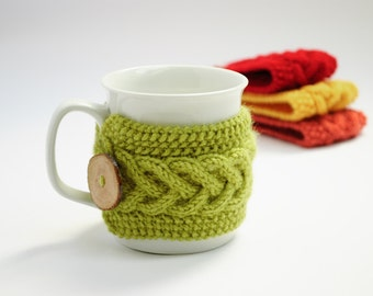 Cup Cozy in Green, Knitted Mug Cozy, Coffee Cozy, Tea Cup Cozy, Handmade Wooden Button, Apple Green, Coffee Cozy Sleeve, Warmer, Gift