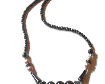 REDUCED - Non Magnetic Hematite Gemstone & Pink Glass Pearl Necklace