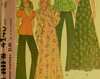 """Dress & Top, Detachable Collar  - 1970's - McCall's Pattern 4140  Size 10  Bust  32.5"""""""