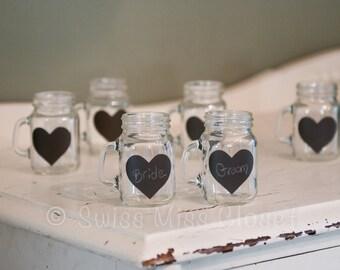 50 mini mason jar shot glasses and heart shaped chalkboard labels for diy wedding favors. Black Bedroom Furniture Sets. Home Design Ideas