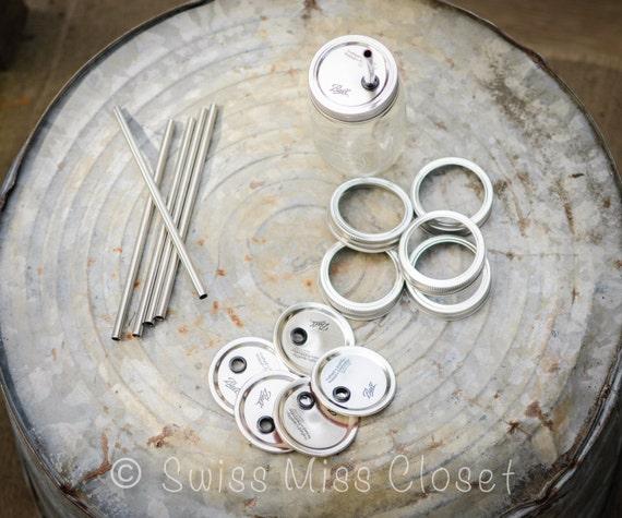Set of 6 Stainless Steel Straws & 6 Mason Jar Lids And Rings  Tumbler DIY Weddings, Parties, Everyday Use