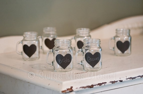 SALE!!! 48 Mini Mason Jar Shot Glasses and Heart Shaped Chalkboard Labels for DIY Wedding Favors