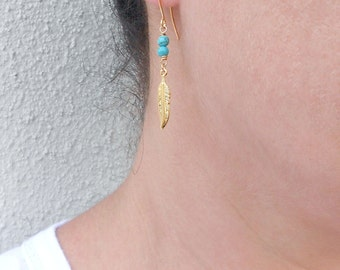Summer SALE - Gold feather earrings, Turquoise gold earrings, December birthstone earrings