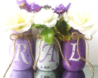 Personalized Mason Jars // Initial Mason Jars // Personalized Decor // Decorative Mason Jar Set // Room Decorations // Home Decorating