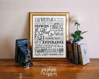 Bible Verse subway art, printable Scripture Print Christian wall art decor poster, verses for the wall quote typography - Colossians 1:10-12