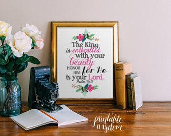 Bible verse art Printable, Christian nursery wall art print poster decor Psalm 45:11 inspirational quote laurel calligraphy INSTANT DOWNLOAD
