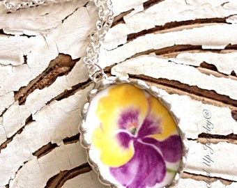 Broken China Jewelry. Broken China Necklace, Pansy China Necklace