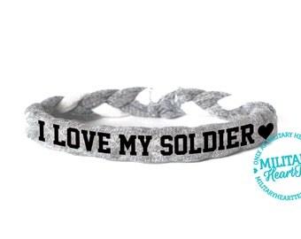 I love my soldier, Custom Military Bracelet - Army, Air Force, Navy, Wife, Girlfriend, Fiance (women, teen girl)
