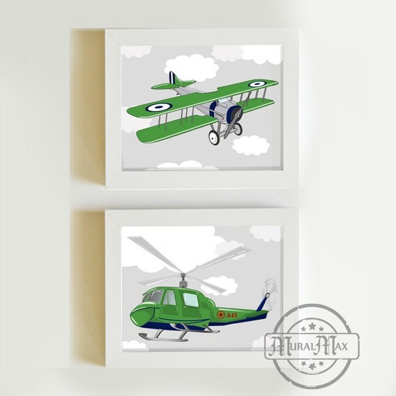 Items similar to Airplane and Helicopter Print Kids Wall ...
