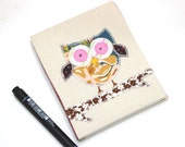 Owl Notepad. Covered notebook for shopping lists, diary, to-do list...