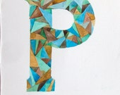 Letter P watercolor painting original. Watercolor illustration. Geometric watercolor. Personalized gift. Typography art. Home decor